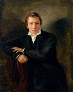 XKH149505 Portrait of Heinrich Heine (1797-1856) 1831 (oil on paper on canvas) by Oppenheim, Moritz Daniel (1800-82); 43x34 cm; Hamburger Kunsthalle, Hamburg, Germany; German,  out of copyright